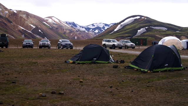 Islandia, Iceland, Landmannalaugar, campo base