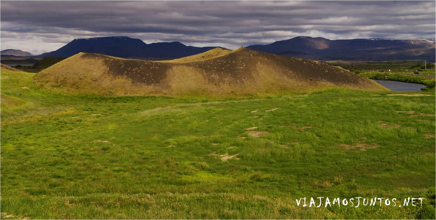 Myvatn, Cráteres falsos, Stakholstjorn, Skutustadir, pseudo cráteres, crateres, volcanes, Islandia, Iceland, rutas, curiosidades