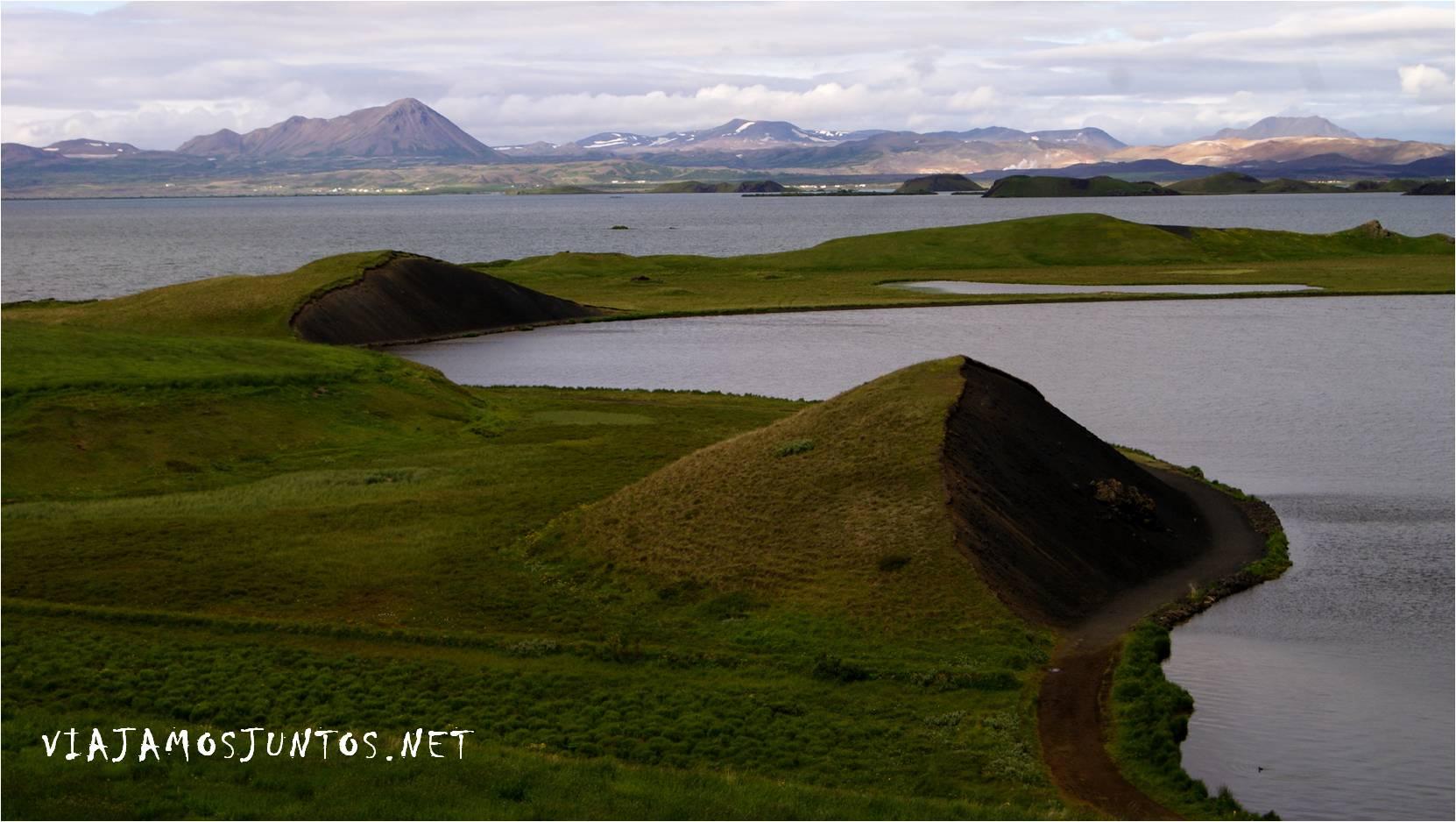 Cráteres falsos, Stakholstjorn, Skutustadir, pseudo cráteres, crateres, volcanes, Islandia, Iceland, rutas, curiosidades