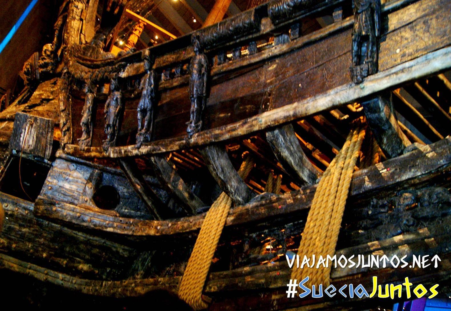 Detalle del barco Vasa en el museo de Vasa, Stockholm, Suecia