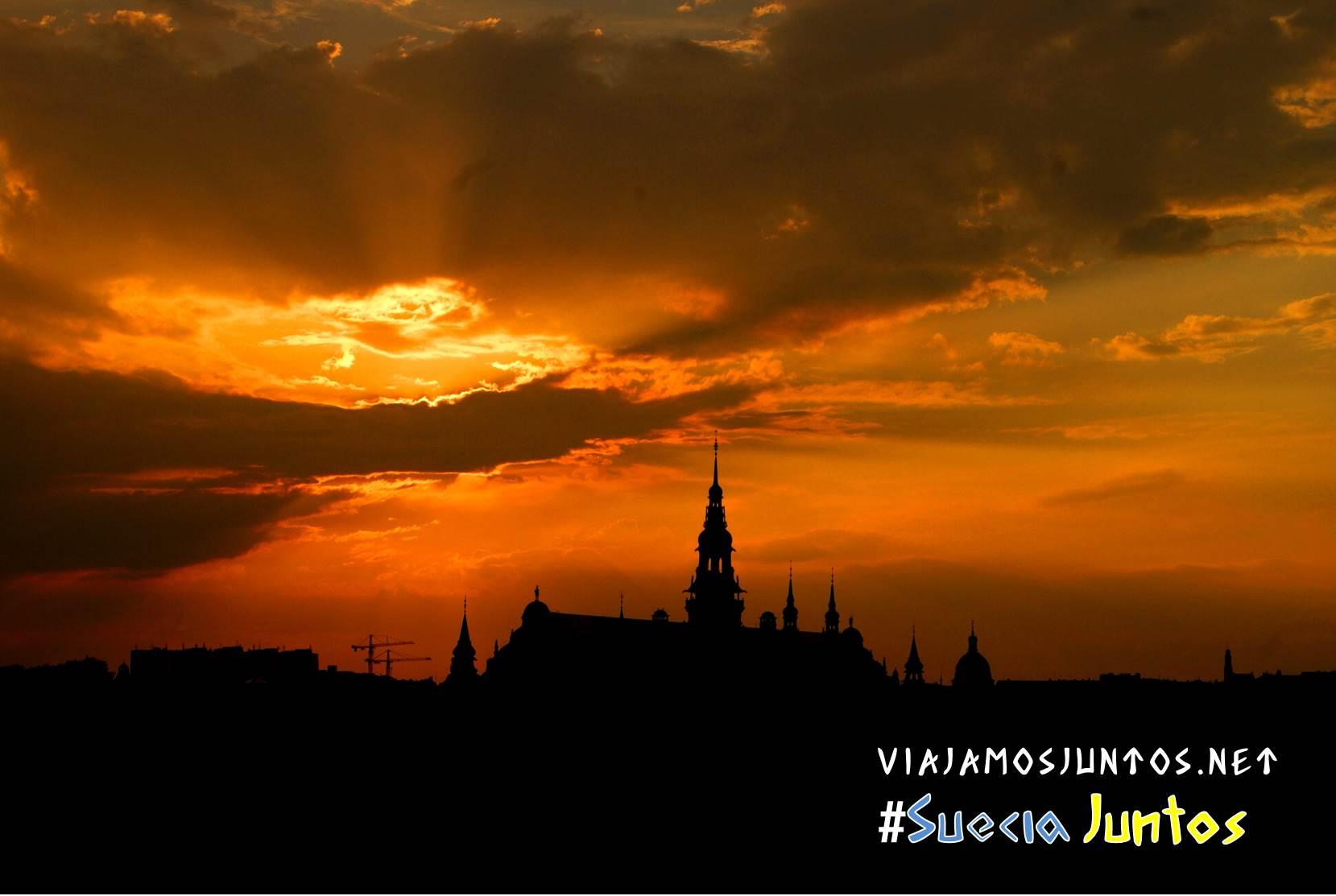 Estocolmo al atardecer desde Skansen, Suecia
