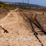 Vías de tren en la Playa de Castillo, Costa Caparica, Portugal