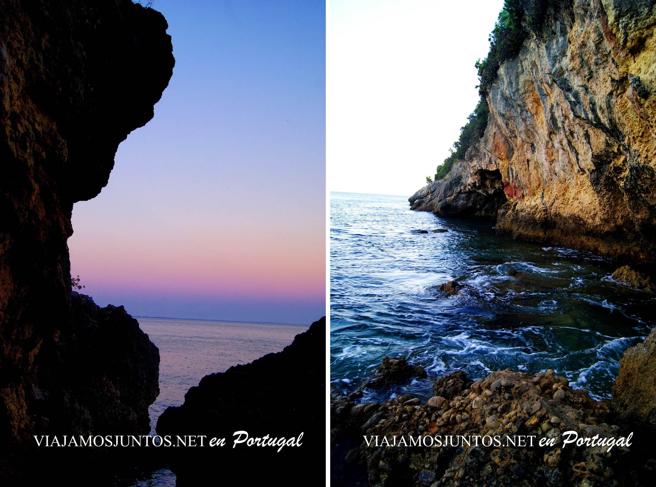 Salida al mar desde la Gruta de Santa Margarida, Península de Setúbal, Portugal