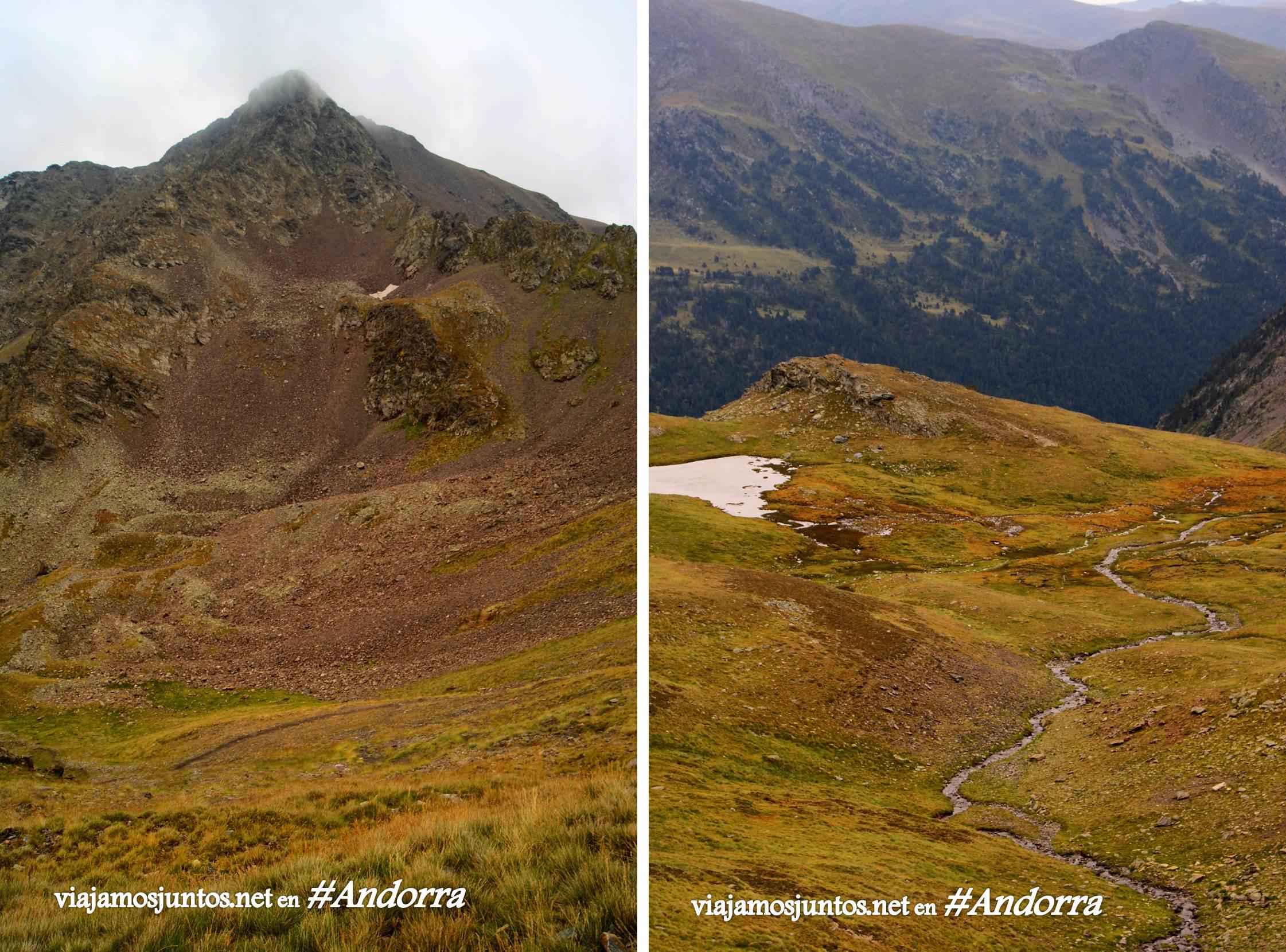 GRP de Andorra, trekking por los Pirineos Orientales; hacia donde se escapa un río de montaña