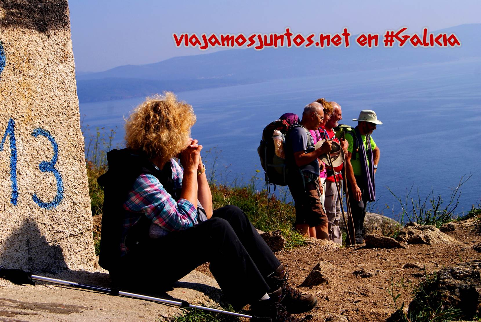 Cabo Finisterre, Costa da Morte, Galicia. Los peregrinos que acaban de llegar