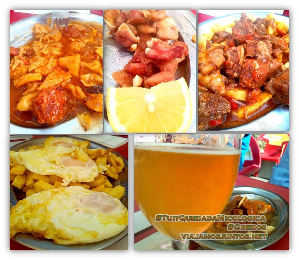 Comer en el bar La Casona. Hoyocasero, Gredos, durante la #TuitQuedadaMicologica
