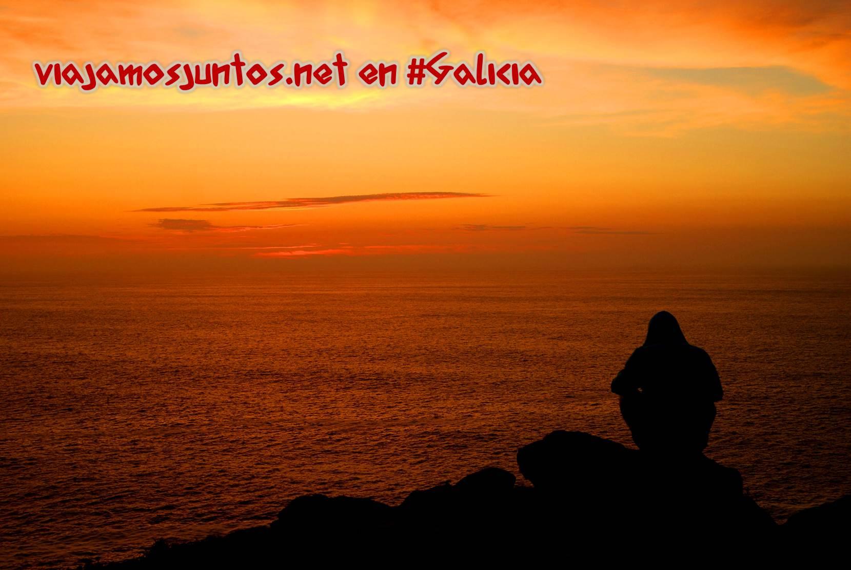 Cabo Touriñán, Costa da Morte, Galicia; cielo rojo