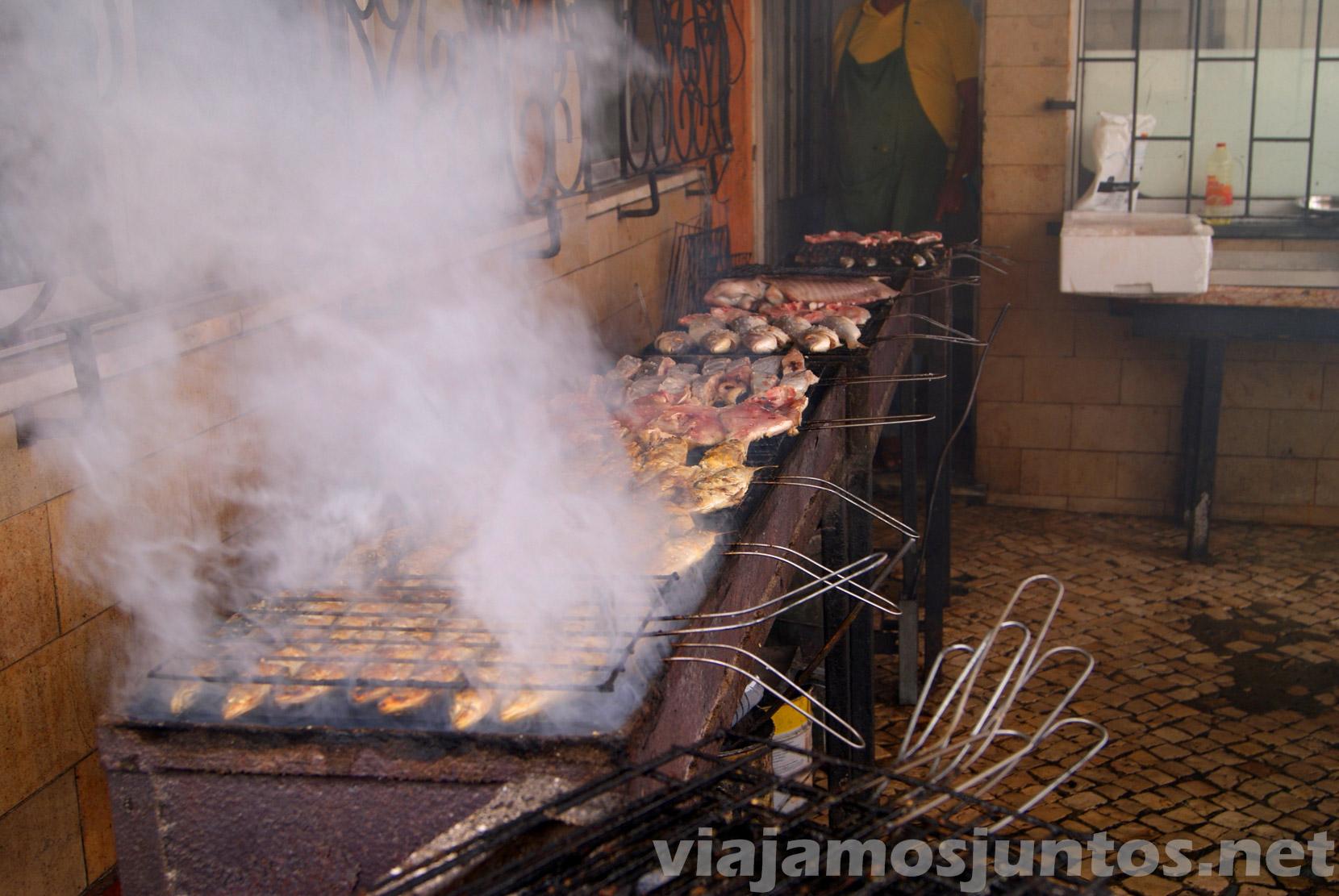 barra libre de pescado en restaurantes para comer en Setubal, Portugal
