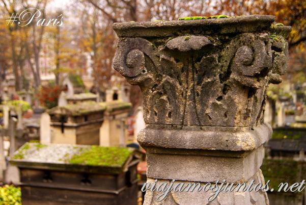 Detalles artísticos de los cementerios de París. Cementerios de París, Montmarte. Francia