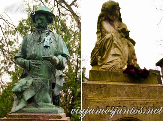 Tumbas con esculturas - tumbas de famosos. Cementerios de París, Pere Lachaise. Francia