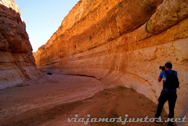 Paseando por el cañón del Oasis de Mides. Tozeur, el Sur de Túnez.