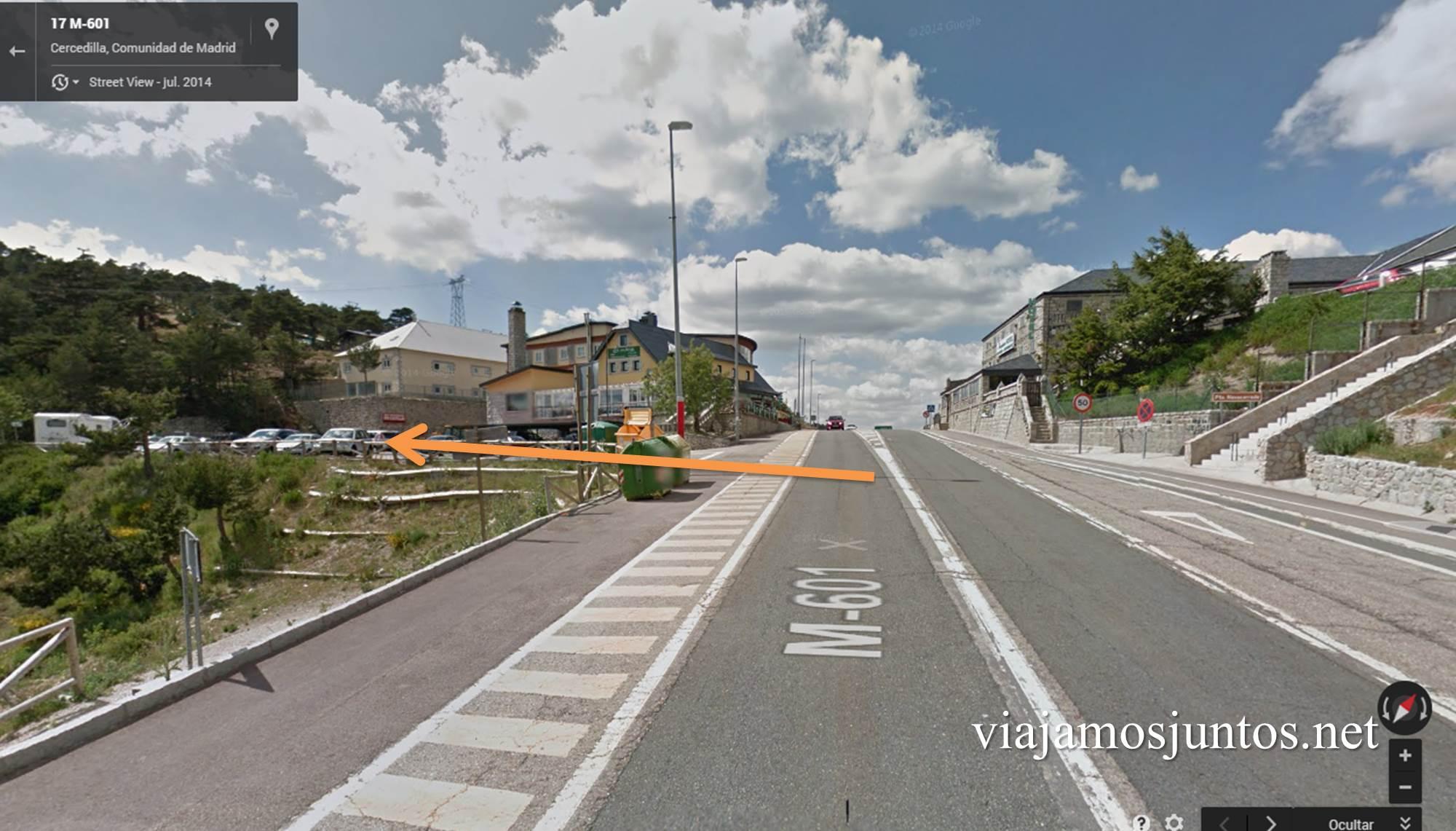 Antes de la Venta Arias está el parking, ruta circular de Siete Picos, Parque Nacional Sierra de Guadarrama, Madrid, Castilla y León