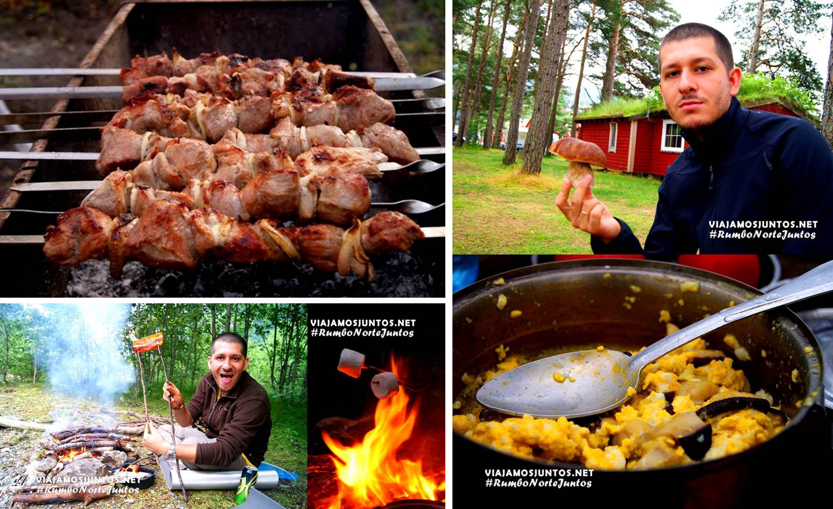Diferentes platos cocinados por nosotros durante viajes