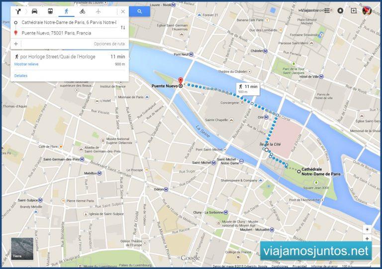 Plano de nuestra ruta por Ile de la Cite, París. París en 5 días. Día 2