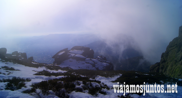 Vistas nublados de Madrid, Ruta cirular de Siete Picos, Sierra de Guadarrama, Parque Nacional Guadarrama, Madrid y Castilla y León