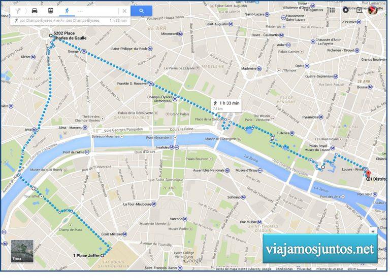 Plano de nuestro primer día en París.