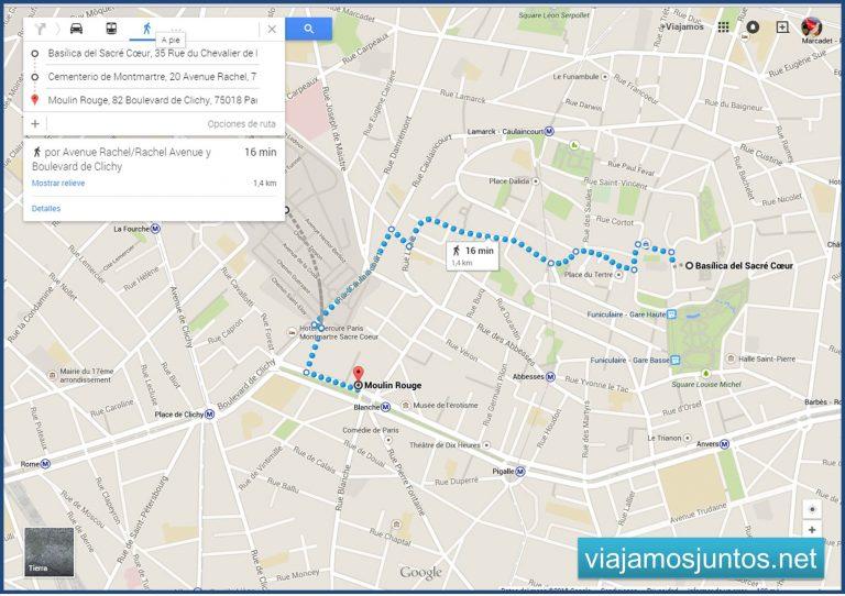 Plano de nuestra ruta por Montmartre, París. París en 5 días. Día 2