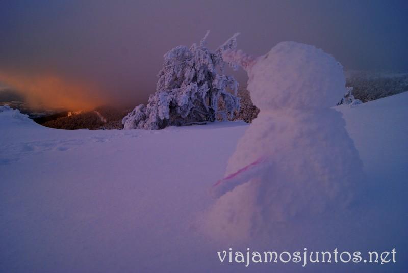 El despertar del Snowman en Navacerrada. Esquí de fondo, una ruta de senderismo y trineos, y mucha diversión en la nieve en Navacerrada, Sierra de Guadarrama, Parque Nacional. Madrid