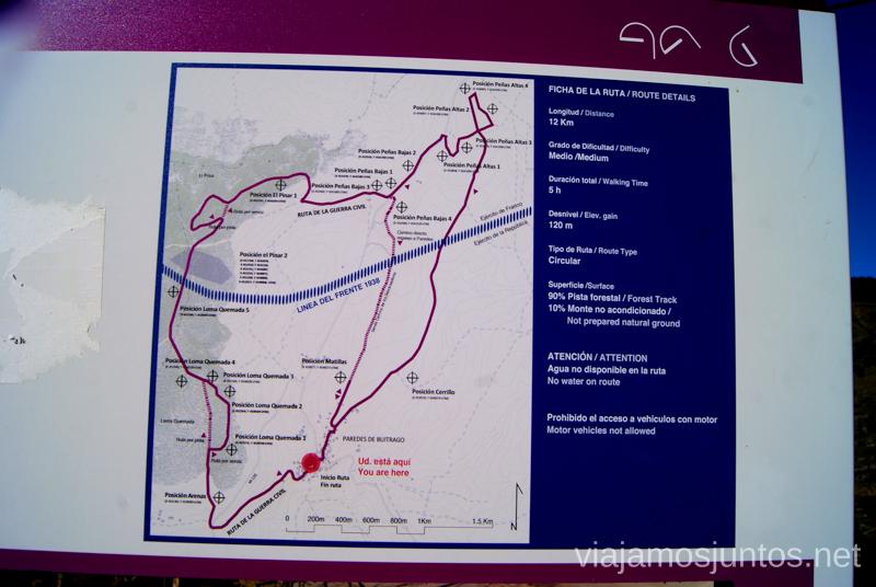 Plano de la ruta Ruta: La Guerra Civil en Madrid, Frente del Agua. Paredes de Buitrago.
