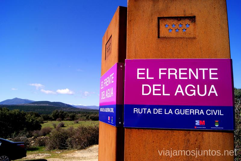 La ruta cruzando la carretera Ruta: La Guerra Civil en Madrid, Frente del Agua. Paredes de Buitrago.