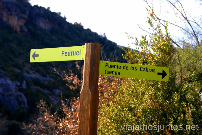 Seguir la flecha Puente de las Cabras  Ruta circular Camping el Puente - Rodellar. Huesca, Aragón.
