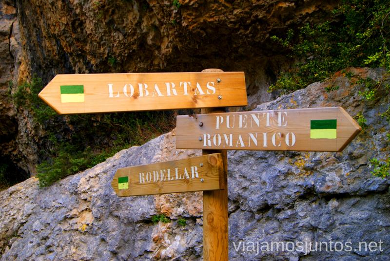 Dirección Rodellar Ruta circular Camping el Puente - Rodellar. Huesca, Aragón.
