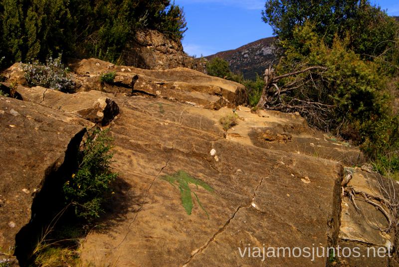 Seguir las flechas verdes Ruta circular Camping el Puente - Rodellar. Huesca, Aragón.
