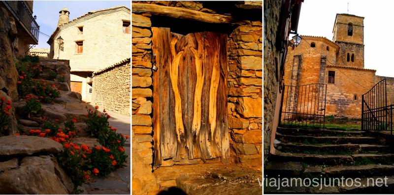 Las calles, la iglesia y los detalles del pueblo Ruta circular Camping el Puente - Rodellar. Huesca, Aragón.