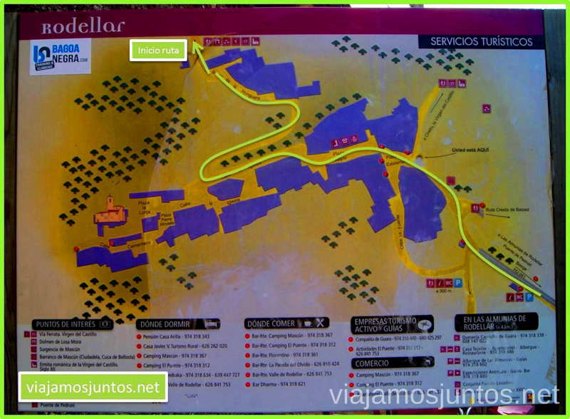 Plano del inicio de la ruta Rodellar - Otín en el pueblo Ruta circular Rodellar - pueblo abandonado Otín - Rodellar. Vistas del barranco Mascún, Dolmen Losa Mora