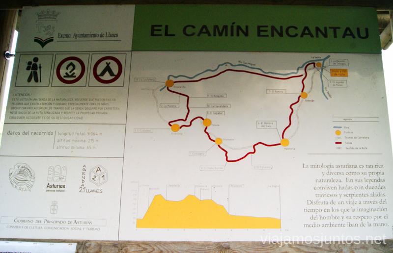 Plano de la Ruta Encantada Asturias, que hacer, donde ir; montaña, playa, pueblos con encanto