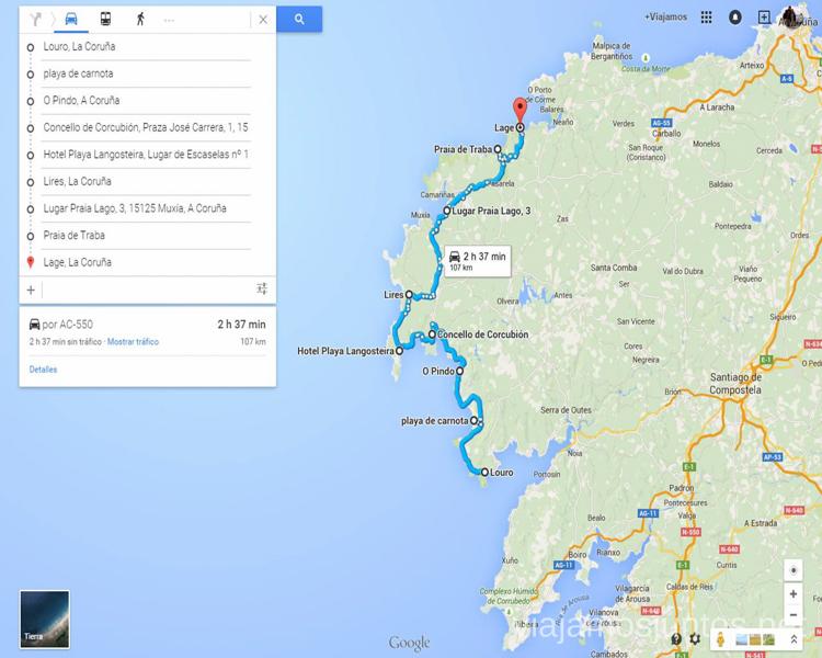 Mapa de las playas de la Costa da Morte Mejores playas de la Costa da Morta, Galicia