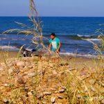 En la playa nudista Las playas de la Costa del Azahar, Castellón, Valencia.
