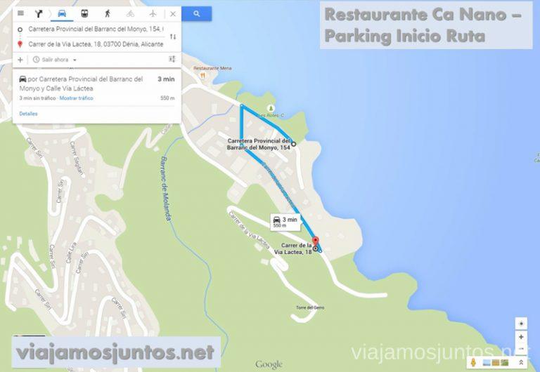 Desde el parking hasta el inicio de la ruta Ruta desde Les Rotes hasta laa Cueva Tallada a pie. Denia. Valencia
