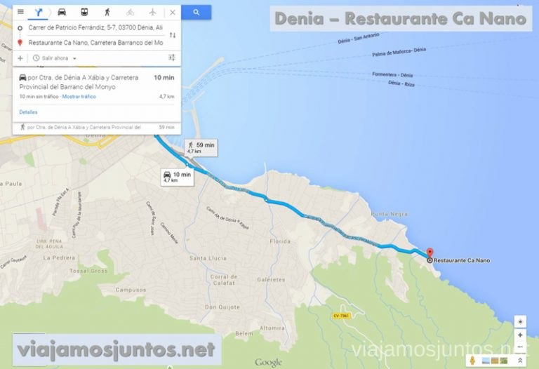 Desde Denia al parking Ruta desde Les Rotes hasta laa Cueva Tallada a pie. Denia. Valencia