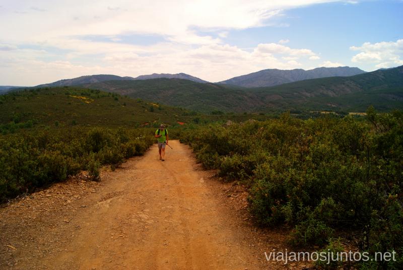 La pista entre jarras  Ruta Circular Las Pozas del Aljibe. El Espinar. Pueblos Negros de Guadalajara