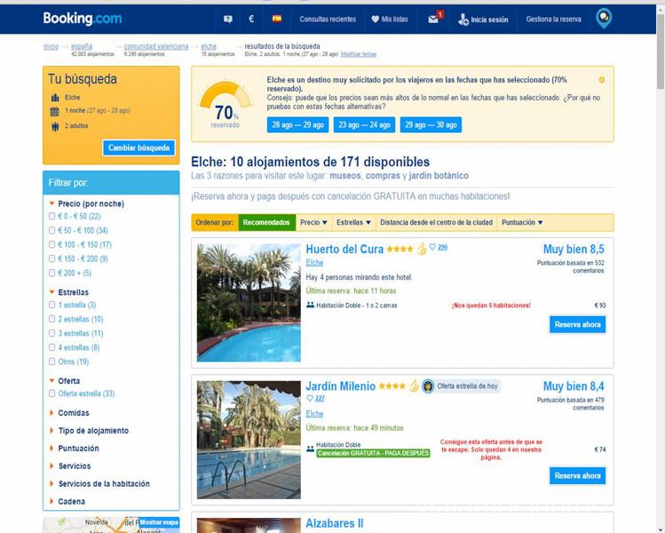 Redirección a la página de Booking desde GoEuro Que ver y que hacer en Elche, Alicante, Valencia. Datos prácticos.