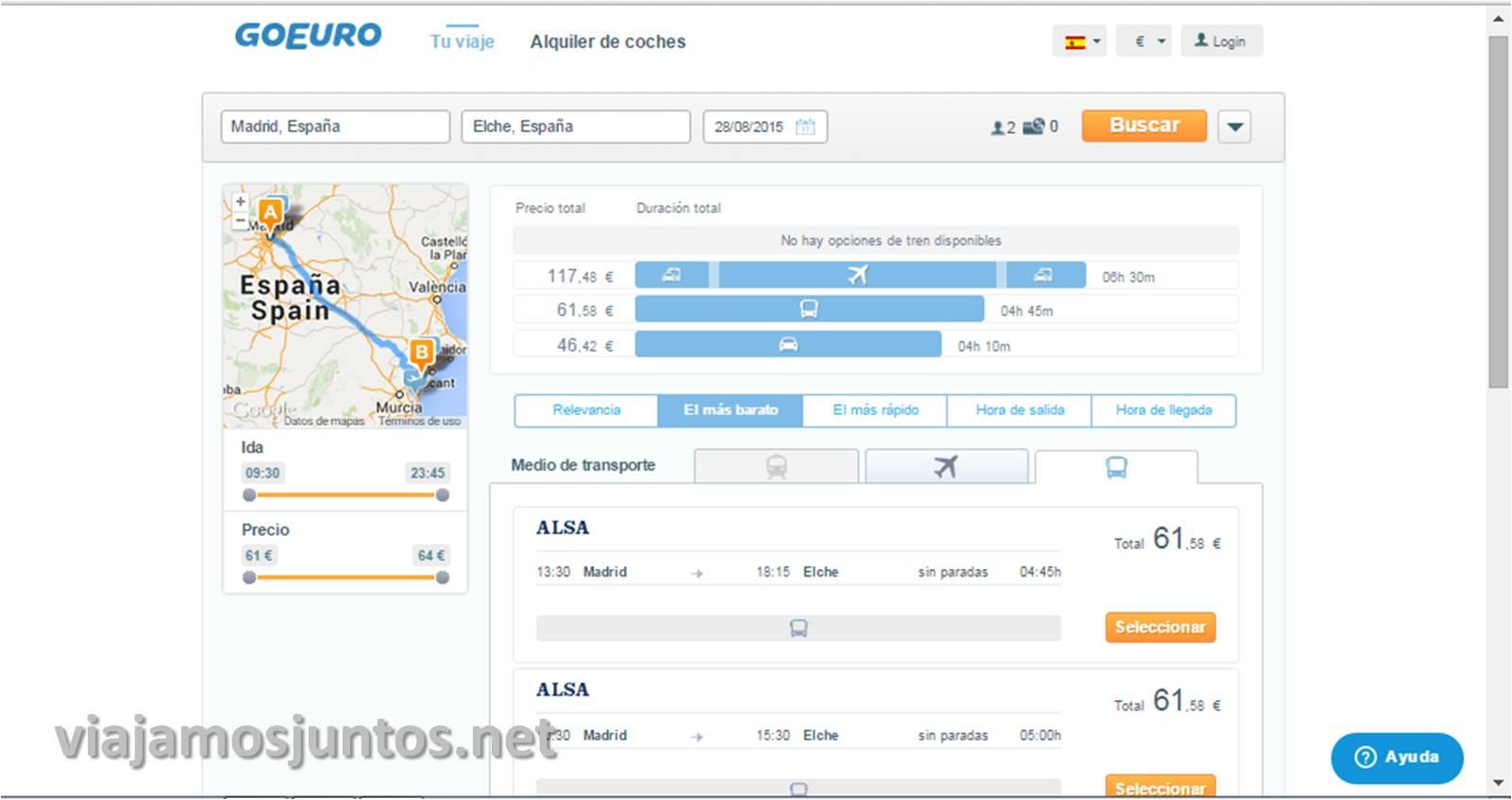 Resultados de transporte de GoEuro Que ver y que hacer en Elche, Alicante, Valencia. Datos prácticos.
