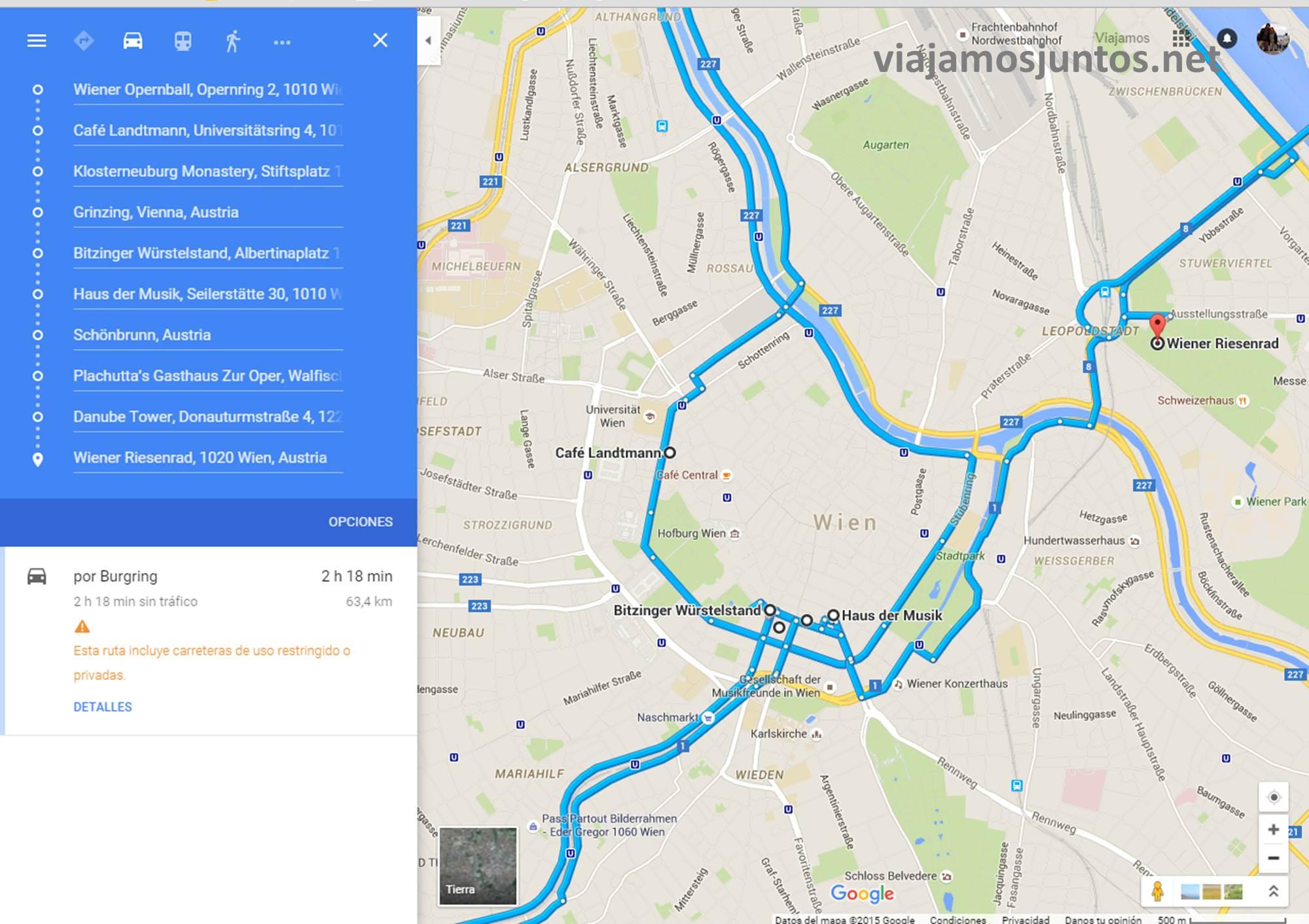 Mapa detallado de las atracciones propuestas en el centro Viena en 24 horas, itinerario. Que hacer y que ver en Vienna