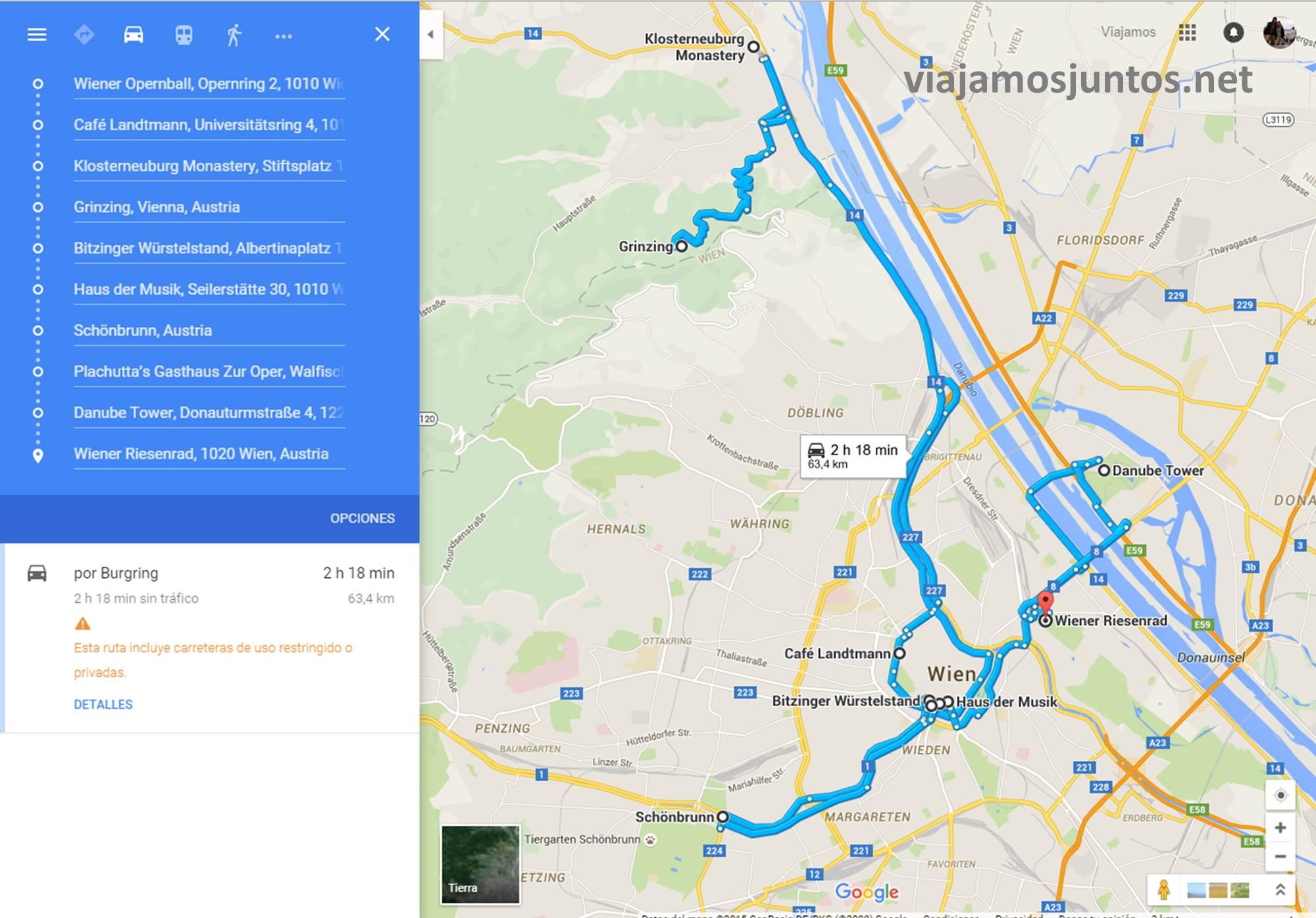 Plano del itinerario de 24 horas por Viena Viena en 24 horas, itinerario. Que hacer y que ver en Vienna