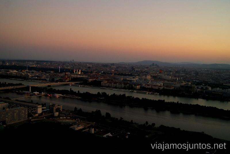 Vistas al atardecer desde la Torre del DanubioTop visitas de Viena, Austria. Que ver y hacer en Wien