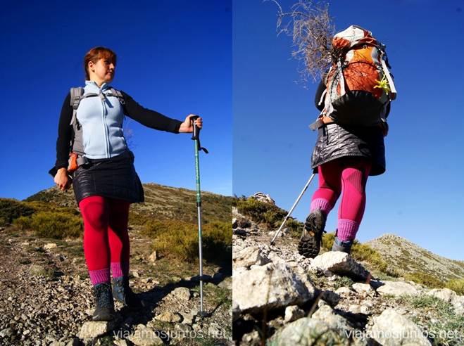 Térmica, falda-plumas, chaleco, calcetín (Decathlon), malla (Lidl), bota (HiTec) Caminatas de invierno. Cómo vestirse barato para rutas de invierno no tener frío.