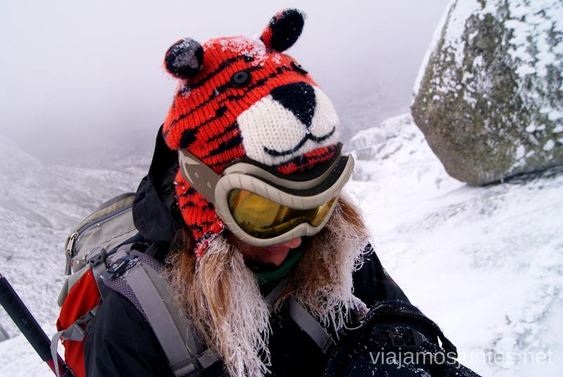 Mi súper-gorro Tigre Caminatas de invierno. Cómo vestirse barato para rutas de invierno no tener frío.