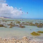 Practicando kitesurf en las lagunas Surfear en Fuerteventura