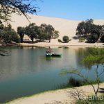El lago en el oasis de Huacachina. Qué ver y qué hacer en Ica y el desierto y oasis de Huacachina Visita a la bodega de Los Tres Hermanos y El Catador Peru #PerúJuntos Perú