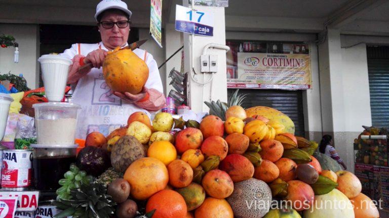 Zumo fresco en el mercado de Arequipa. Visitar Arquipa Peru #PerúJuntos Perú