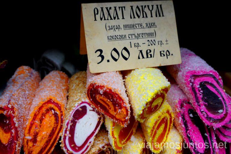 No es el típico Lokum, éste es demasiado colorido. Normalmente se vende en cajitas pequeñas. Dónde y qué comer en Bulgaria. Gastronomía de Bulgaria #BulgariaJuntos