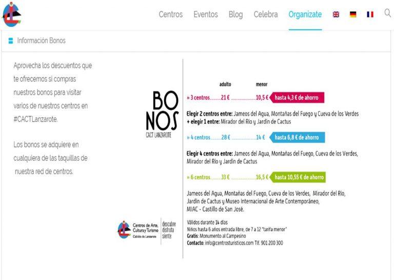Bonos para visitar centros de arte, cultura y turismo de CACT Lanzarote Qué ver y hacer en Lanzarote, #LanzaroteJuntos