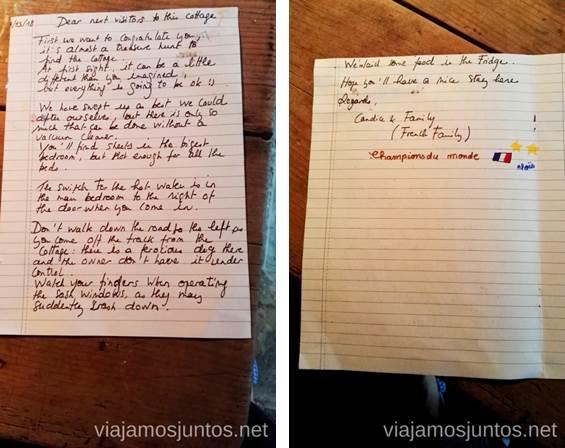 Carta de los anteriores huéspedes a los siguientes. Nosotros también dejamos una. Consejos prácticos para viajar por Wild Atlantic Way #IrlandaJuntos Ruta Costera del Atlántico