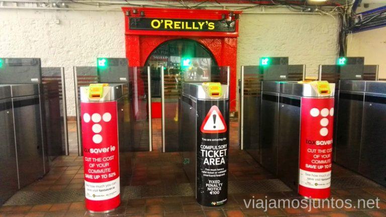 Parada de trenes en Dublín donde puedes pagar con LEAP card. Transporte público en Dublín e Irlanda. LEAP card #IrlandaJuntos