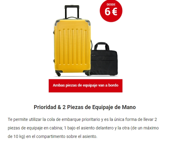 Priority de Ryanair. Equipaje de mano de Ryanair: nuevos precios y medidas.